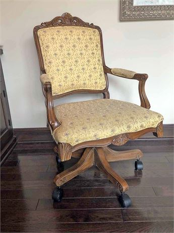 Carved Wood Executive Upholstered Chair