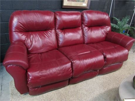 Best Home Furnishings Motion Sofa - Cranberry Leather - Both Ends Recline