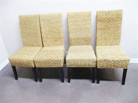 LOT OF 4 WOVEN SEA GRASS SIDE CHAIRS