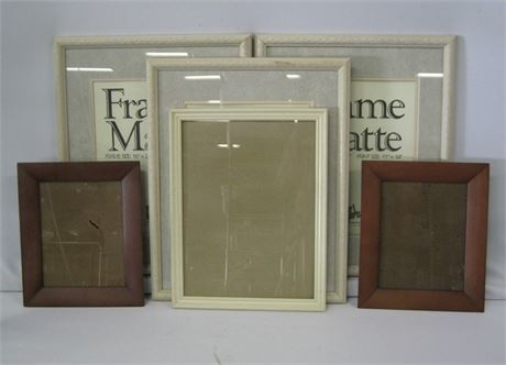 6 PICTURE FRAMES - INCLUDING 3 MATCHING PIER-1 DOUBLE MATTED FRAMES