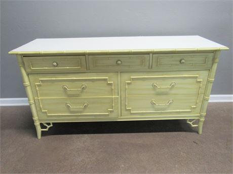 Vintage Thomasville Faux Bamboo 7 Drawer Dresser