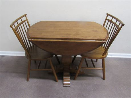 PEDESTAL DROP-LEAF DINETTE TABLE WITH 2 CHAIRS