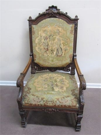 ANTIQUE JACOBEAN STYLE NEEDLEPOINT/TAPESTRY CHAIR