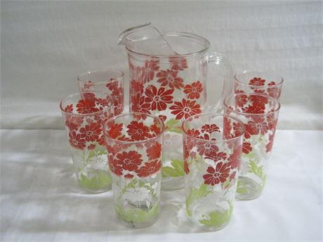 VINTAGE 1950'S FLORAL PITCHER WITH 6 GLASSES