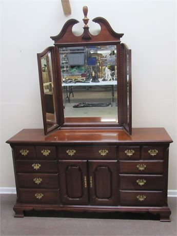 CHIPPENDALE STYLE DRESSER WITH TRI-FOLD BEVELED GLASS MIRROR