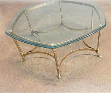 Brass Hexagon Glass Top Coffee Table
