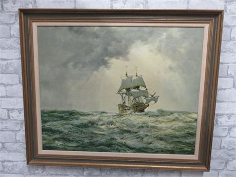MONTAGUE DAWSON Mayflower Ship Canvas Painting (Signed)