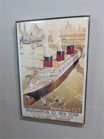"""Framed Poster - French Line C.G.T. Express Luxury Service """"Normandie"""""""