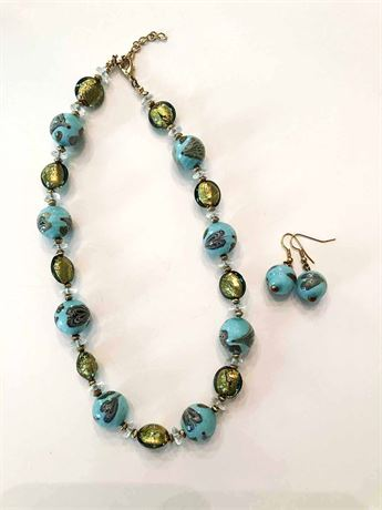 Blue Bead Necklace & Earring Set