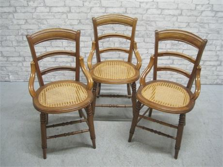 3 VINTAGE CANE SEAT CHAIRS