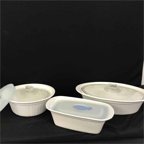 Transitional Design Online Auctions - 3 Pieces White Corning