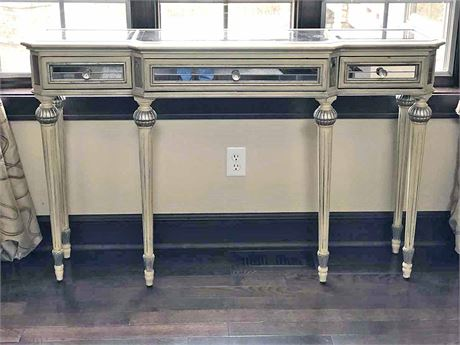 Beveled Glass Top Console Table