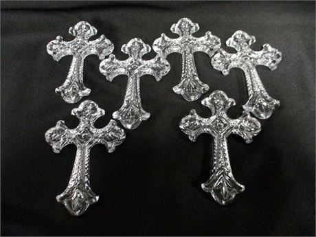 LOT OF 6 WATERFORD CRYSTAL CROSS ORNAMENTS