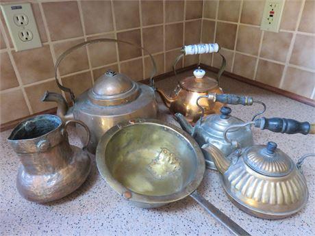 Vintage Copper & Brass Tea Kettle Lot