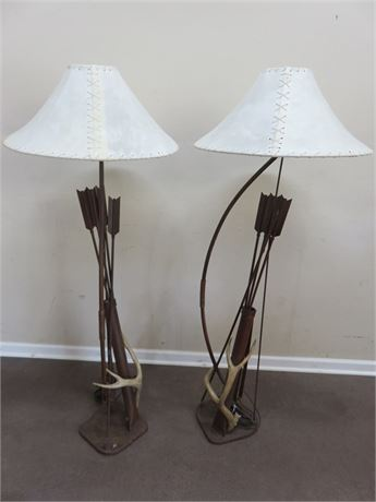 Rustic Iron Bow and Arrow Antler Floor Lamps