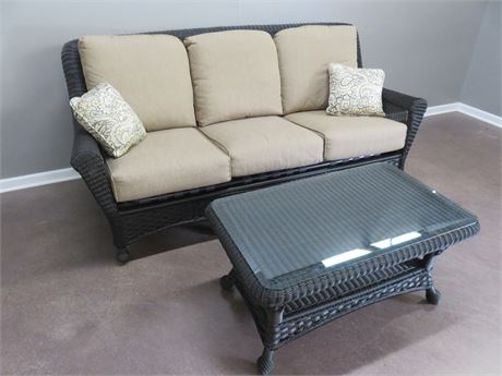 Synthetic Wicker Sofa & Coffee Table