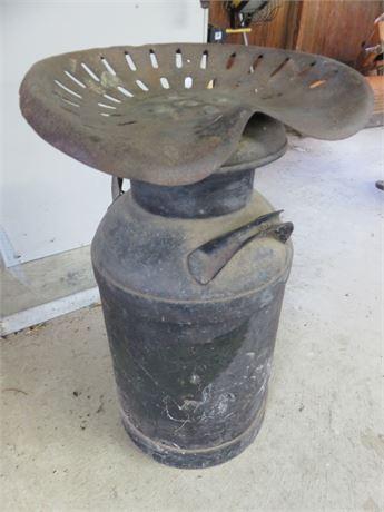Vintage Tractor Seat Milk Jug Stool