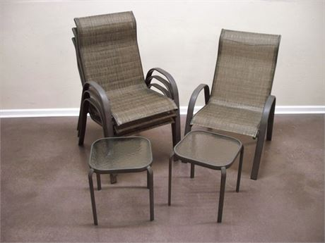 LIKE NEW! - 4 STACKING MESH PATIO CHAIRS WITH 2 SIDE TABLES