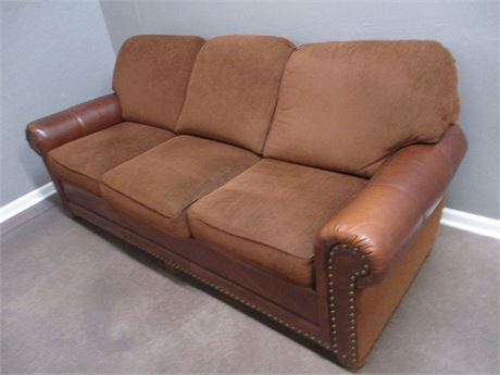 SMITH BROTHERS SOFA WITH LEATHER ARMS