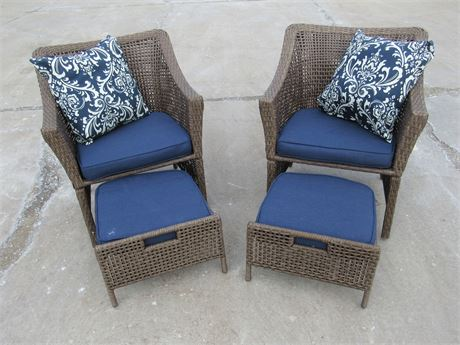 2 SYNTHETIC WICKER OUTDOOR/PATIO SIDE CHAIRS WITH FOOT STOOLS