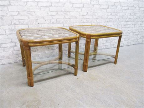 PAIR OF RATTAN SIDE TABLES WITH GLASS SHELVES