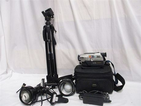 LOT OF VIDEO EQUIPMENT FEATURING SONY HANDYCAM VISION Hi8
