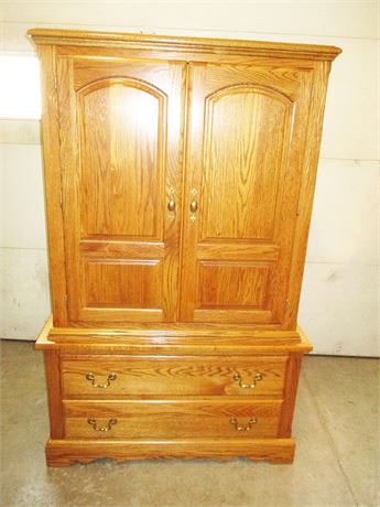 "VERY NICE NATHAN HALE ""HARVEST OAK"" CLOTHING ARMOIRE"