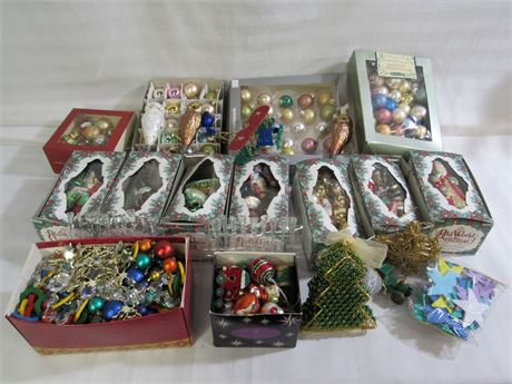 Large Lot of Vintage Look Christmas Ornaments  - Approx. 150 Ornaments.