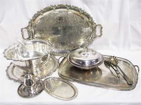 "LOT OF SILVER PLATE FEATURING INTERNATIONAL SILVER WILCOX ""AMERICAN ROSE"""
