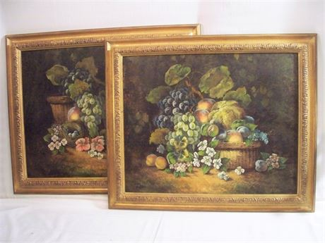 2 FRAMED VINTAGE STILL LIFE ARTWORKS ON CANVAS
