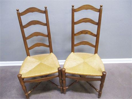 LOT OF 2 RUSH SEAT CHAIRS