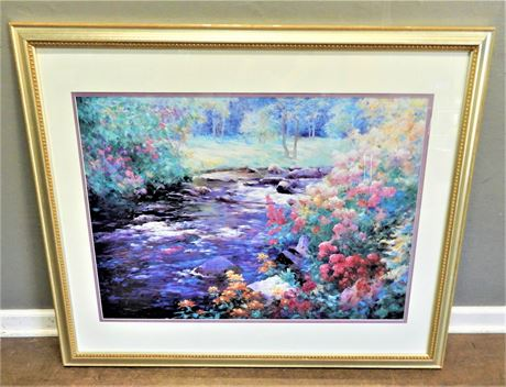 Floral Print Double Matted and Framed