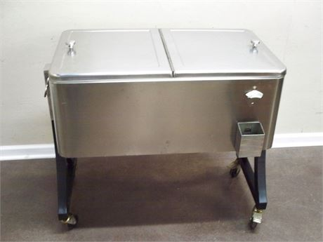 ROLLING STAINLESS COOLER CHEST