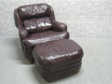 LACKAWANNA LEATHER CO. LEATHER OCCASIONAL CHAIR & OTTOMAN