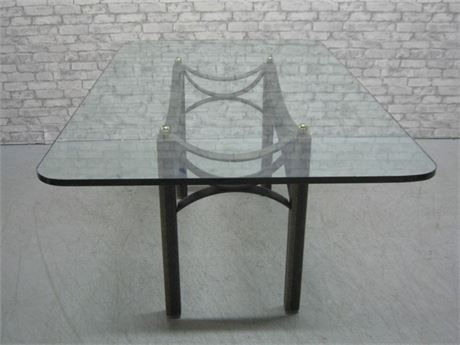 GREAT LOOKING THICK GLASS TOP TABLE WITH WROUGHT IRON BASE
