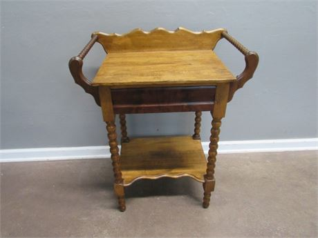 Antique Washstand with Burlwood Hand-Dovetailed Drawer
