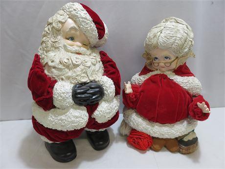 Ceramic Santa & Mrs. Claus Decorative Figures