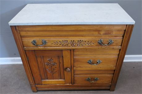 Vintage Victorian Washstand with Marble top & dovetail drawers