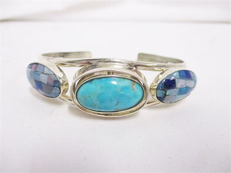 STERLING SILVER CUFF WITH TURQUOISE AND MOSAIC