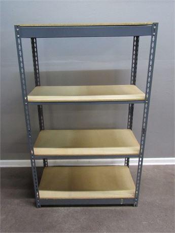 4 Shelf Metal and Wood Adjustable Storage Shelf