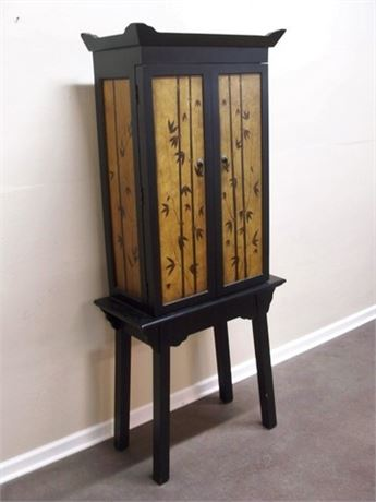 TALL ORIENTAL/ASIAN STYLE JEWELRY ARMOIRE