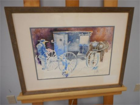 SIGNED FRAMED DOUBLE MATTED WATERCOLOR - LOADING THE BUGGY - JOHN E. POTI