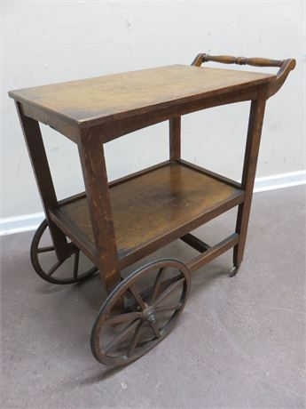 Vintage Tiger Oak Tea Cart