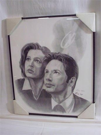 SIGNED AND NUMBERED X-FILES SCULLY AND MULDER PRINT BY WREN - 1999 (#91/250)