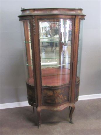 Antique French Style Hand-Painted Curved Glass Curio Display Cabinet
