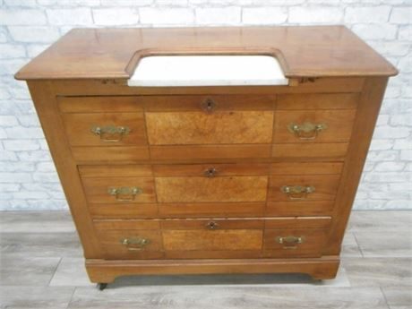 GREAT LOOKING ANTIQUE DRESSER WITH MARBLE INSERT CASTERS AND PIN & COVE DOVETAIL