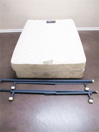 "FULL SIMMONS BEAUTY REST ""CAMEO"" EXTRA FIRM MATTRESS AND BOX SPRING WITH FRAME"