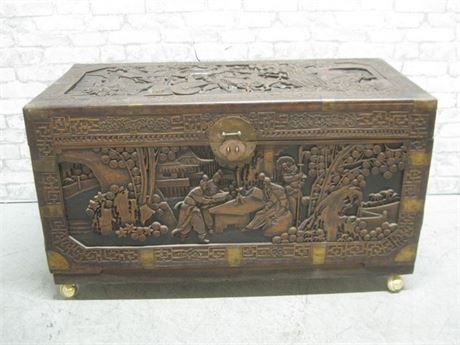 BEAUTIFUL CARVED ORIENTAL/ASIAN CEDAR CHEST