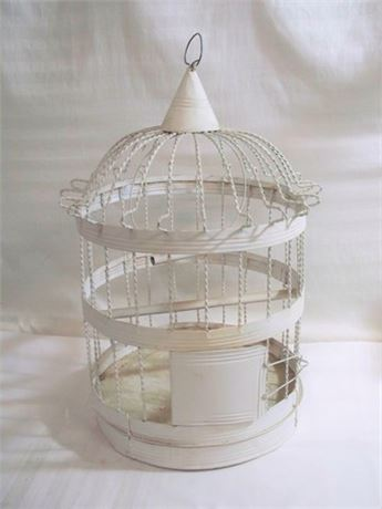 WHITE PAINTED BIRD CAGE