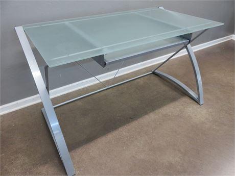 Contemporary Glass Top Office Desk